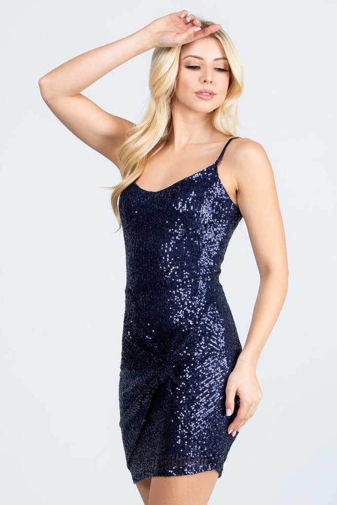 Short Sequins Cocktail Navy Blue Dress Body Con Spaghetti Strap