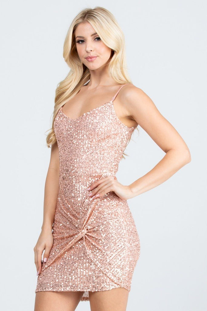 Short Sequins Cocktail Rose Gold Dress Body Con Spaghetti Strap