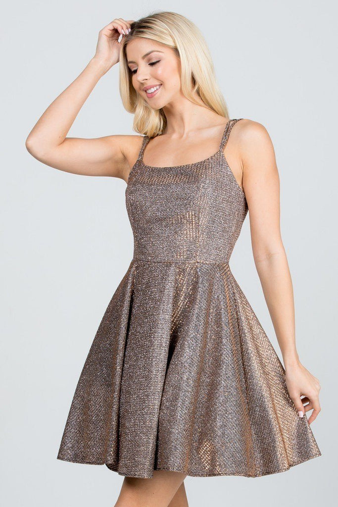 La Scala 25851 Sparkling Waffle Jacquard Fit And Flare Dress Bronze