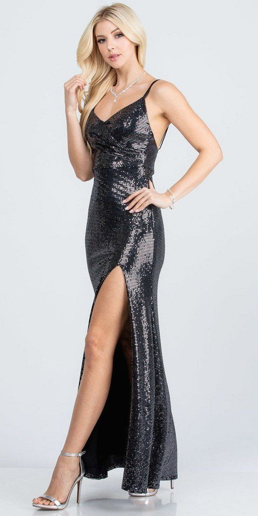 Form Fitting Silhouette High Slit Ruched Bodice Gown Long Black