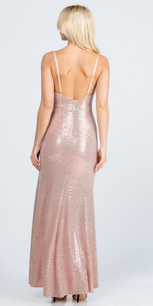 Form Fitting Silhouette High Slit Ruched Bodice Gown Long Blush