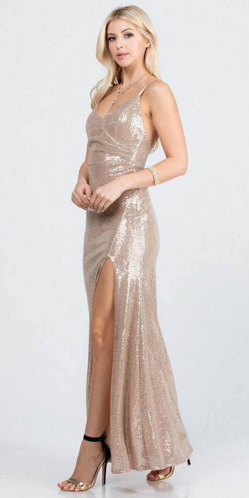 Form Fitting Silhouette High Slit Ruched Bodice Gown Long Champagne