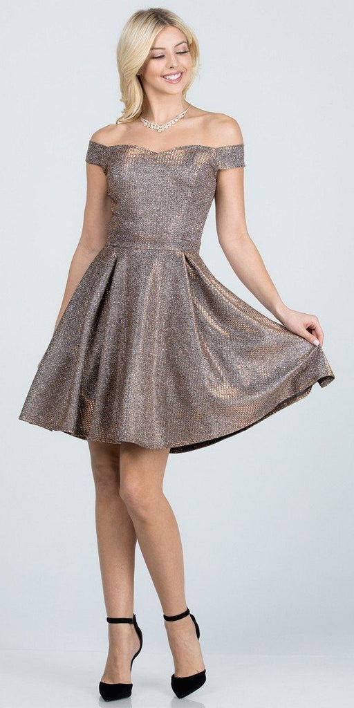 Glittered Off the Shoulder Fit and Flare Dress With Inside Crinoline Bronze