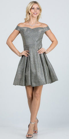 Silver Long Prom Dress with Criss-Cross Lace-Up Back