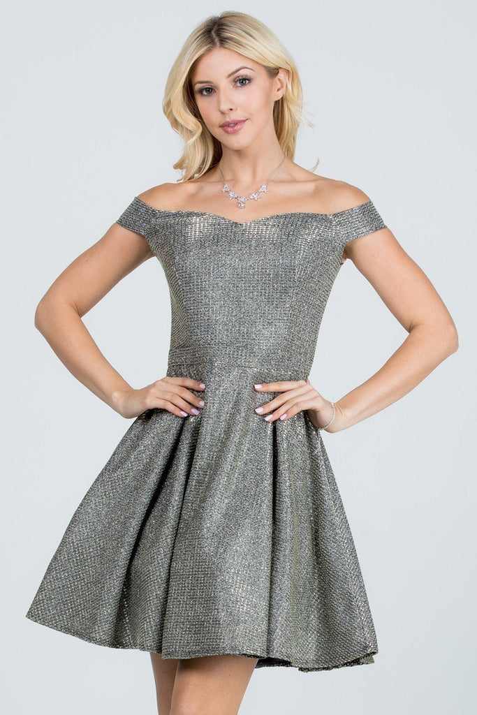 Glittered Off the Shoulder Fit and Flare Dress With Inside Crinoline Champagne