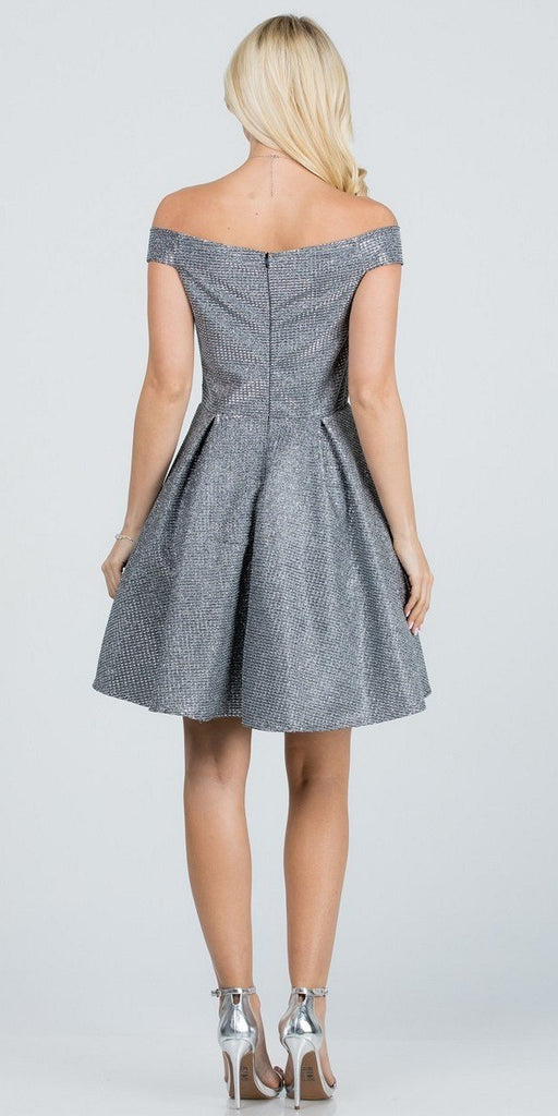 Glittered Off the Shoulder Fit and Flare Dress With Inside Crinoline Charcoal