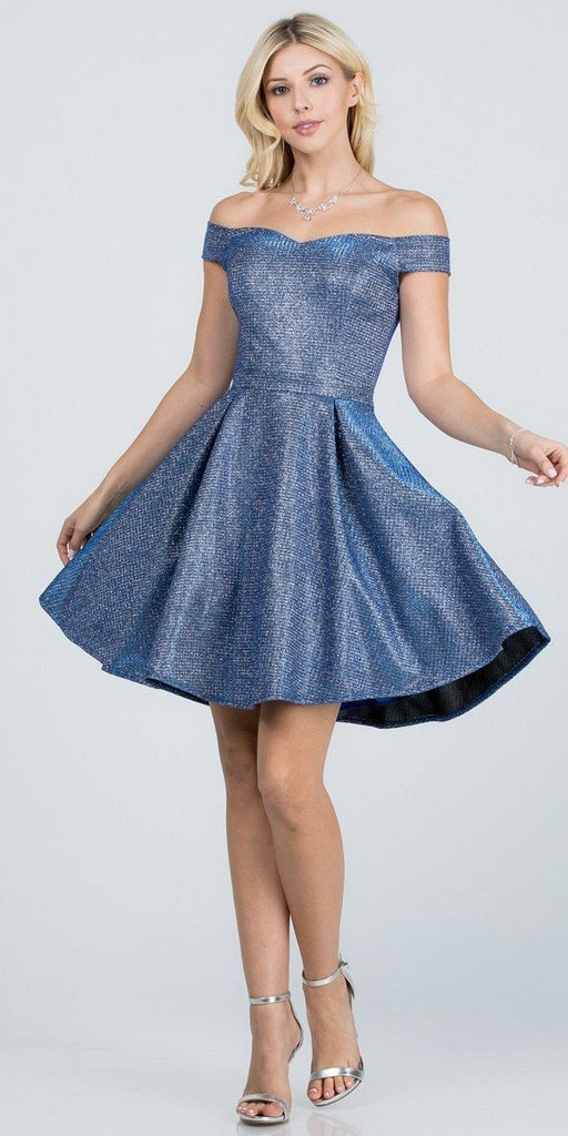 Glittered Off the Shoulder Fit and Flare Dress With Inside Crinoline Royal Blue