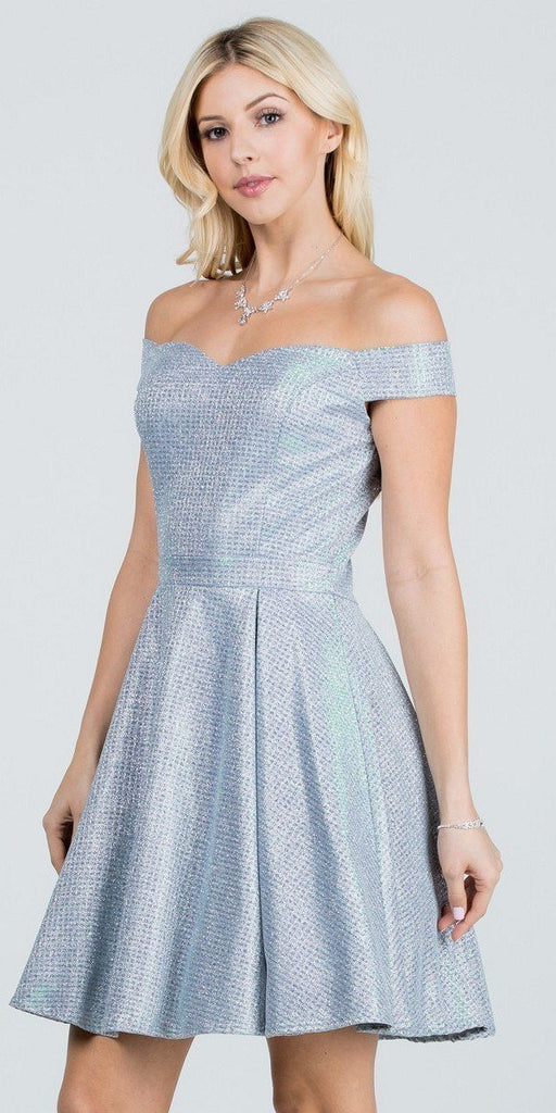 Glittered Off the Shoulder Fit and Flare Dress With Inside Crinoline Silver