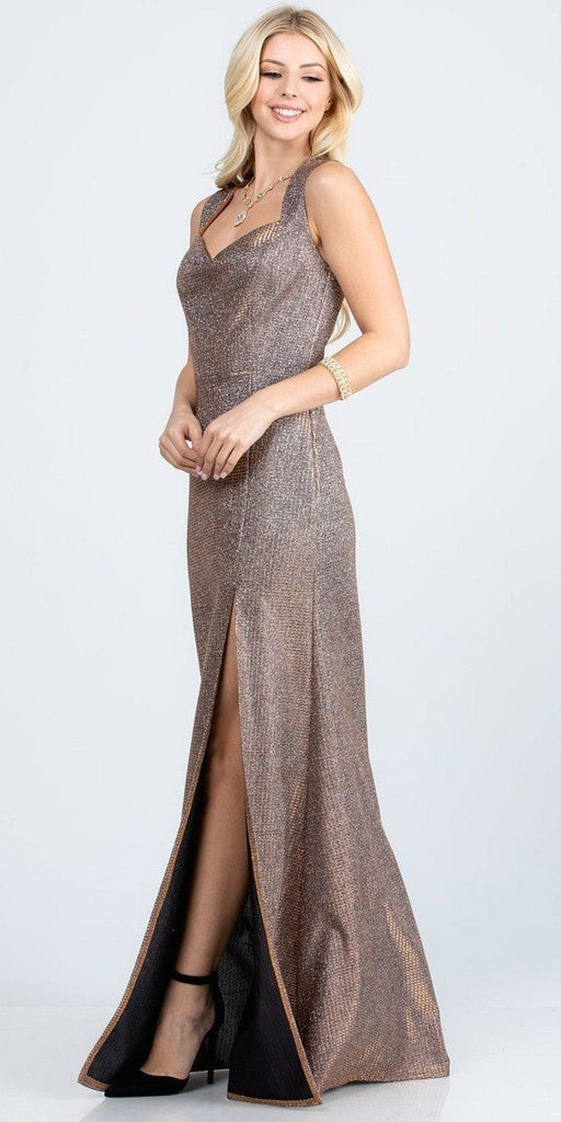 Sleeveless Shiny Glitter Jacquard Mermaid Gown Bronze Side Slit