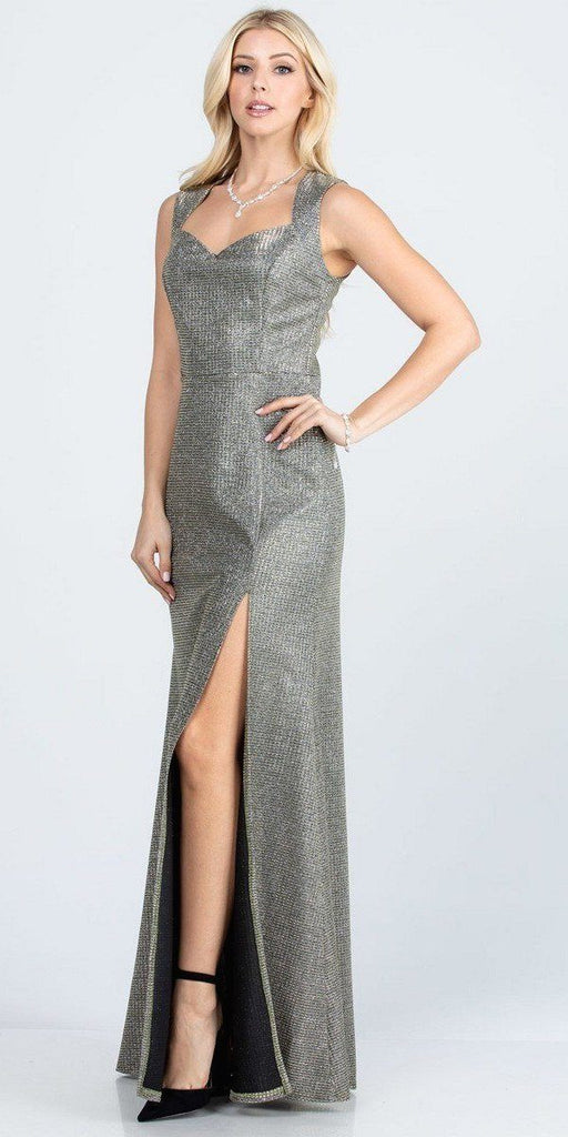 Sleeveless Shiny Glitter Jacquard Mermaid Gown Champagne Side Slit