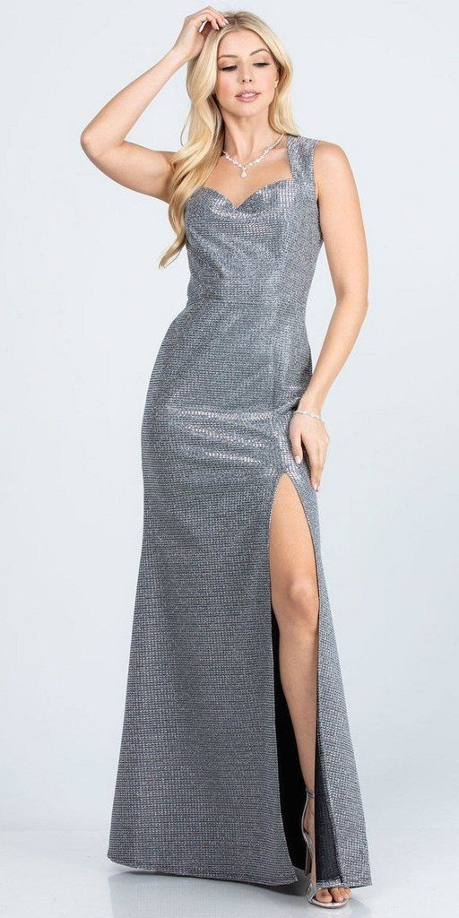 Sleeveless Shiny Glitter Jacquard Mermaid Gown Charcoal Side Slit
