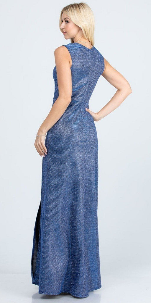 Sleeveless Shiny Glitter Jacquard Mermaid Gown Royal Blue Side Slit