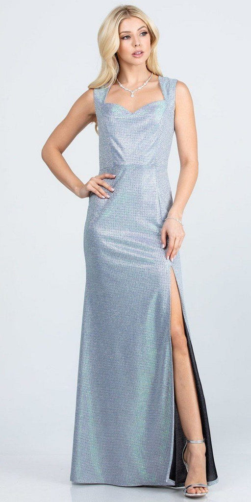 Sleeveless Shiny Glitter Jacquard Mermaid Gown Silver Side Slit