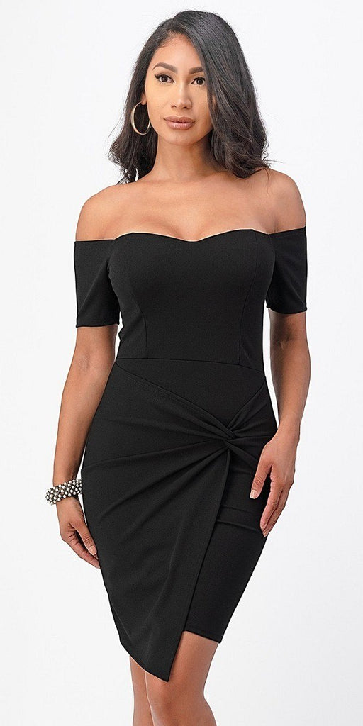 La Scala 25892 Short Body Con Cocktail Black Dress Off Shoulder Form Fit