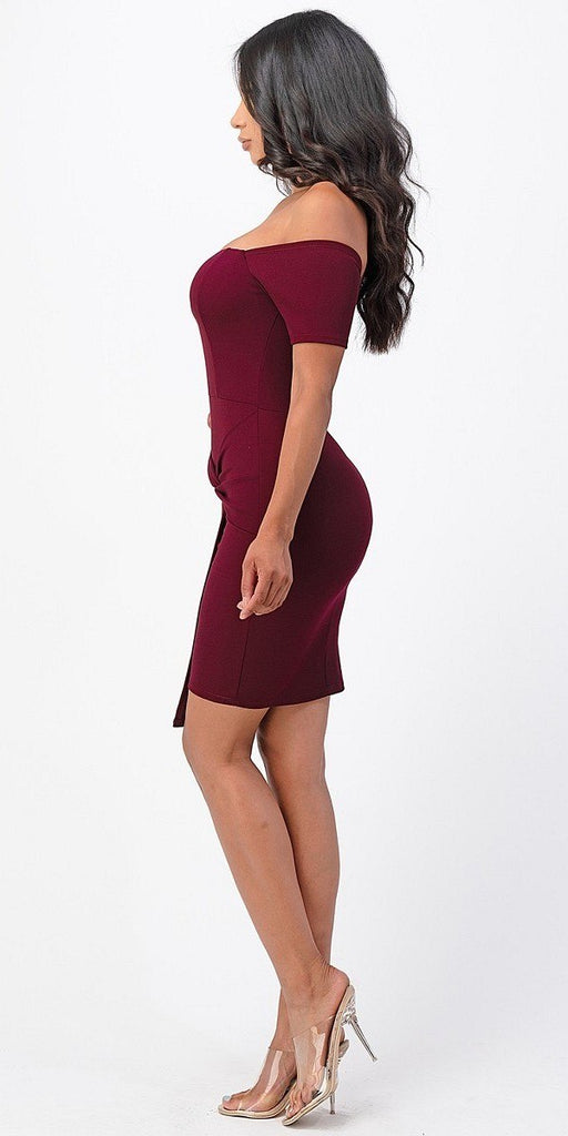La Scala 25892 Short Body Con Cocktail Burgundy Dress Off Shoulder Form Fit