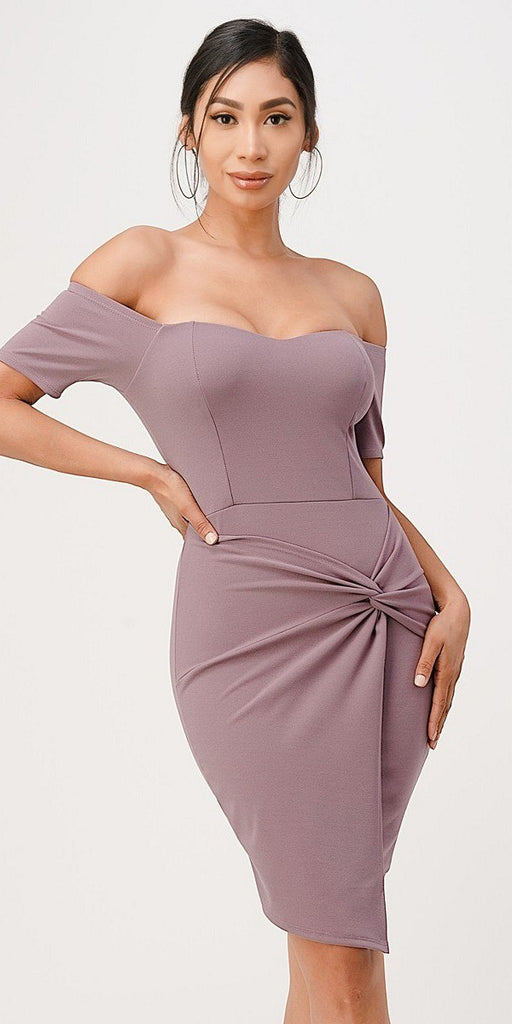 La Scala 25892 Short Body Con Cocktail Lavender Dress Off Shoulder Form Fit