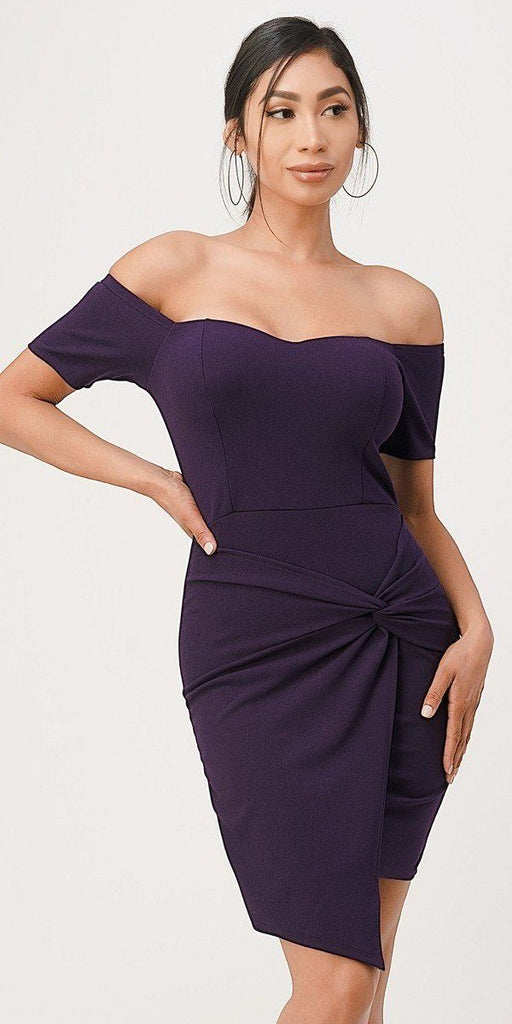 La Scala 25892 Short Body Con Cocktail Purple Dress Off Shoulder Form Fit