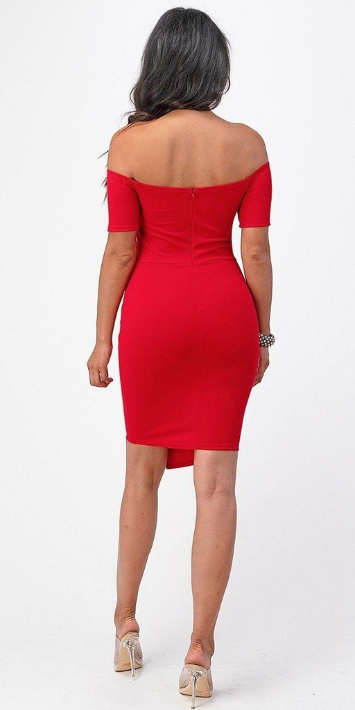 La Scala 25892 Short Body Con Cocktail Red Dress Off Shoulder Form Fit