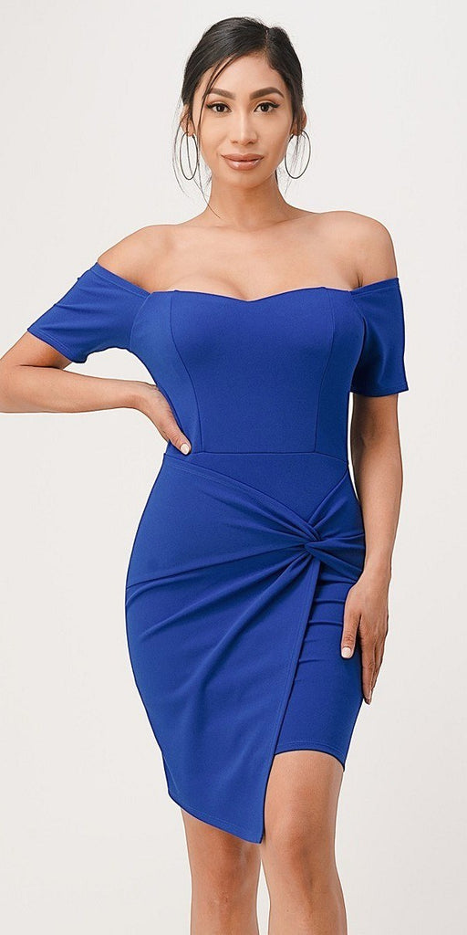La Scala 25892 Short Body Con Cocktail Royal Blue Dress Off Shoulder Form Fit