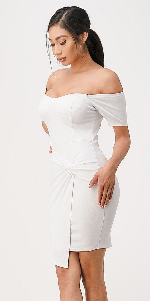 La Scala 25892 Short Body Con Cocktail White Dress Off Shoulder Form Fit