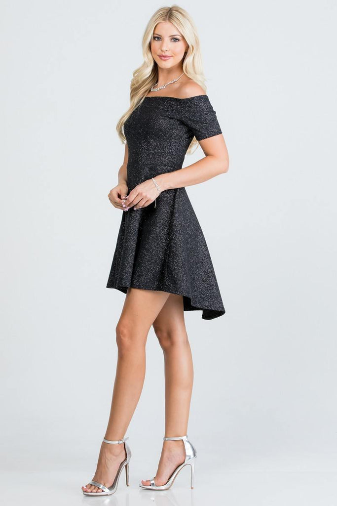 La Scala 25894 Off The Shoulder Short Sleeve Glittered Skater Dress Black