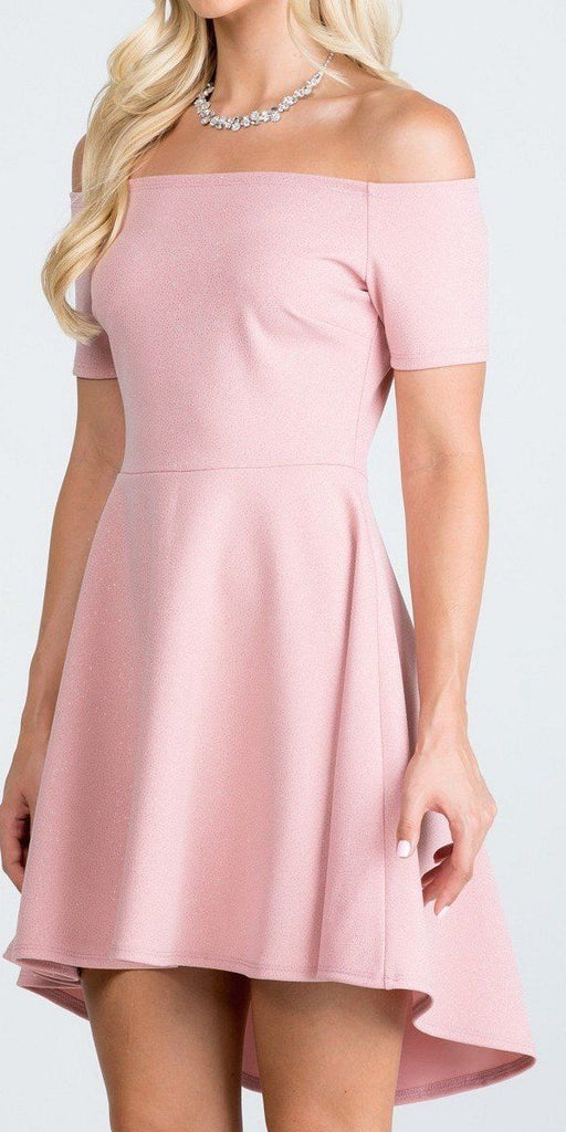 La Scala 25894 Off The Shoulder Short Sleeve Glittered Skater Dress Blush
