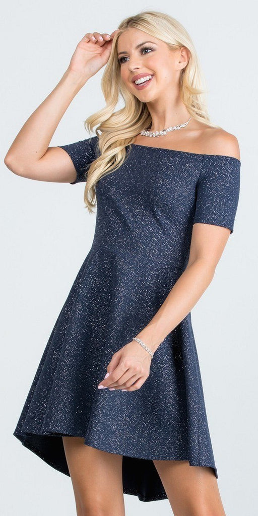 La Scala 25894 Off The Shoulder Short Sleeve Glittered Skater Dress Navy Blue