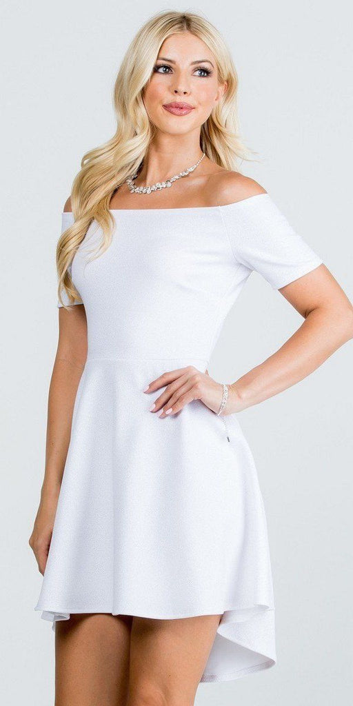 La Scala 25894 Off The Shoulder Short Sleeve Glittered Skater Dress White