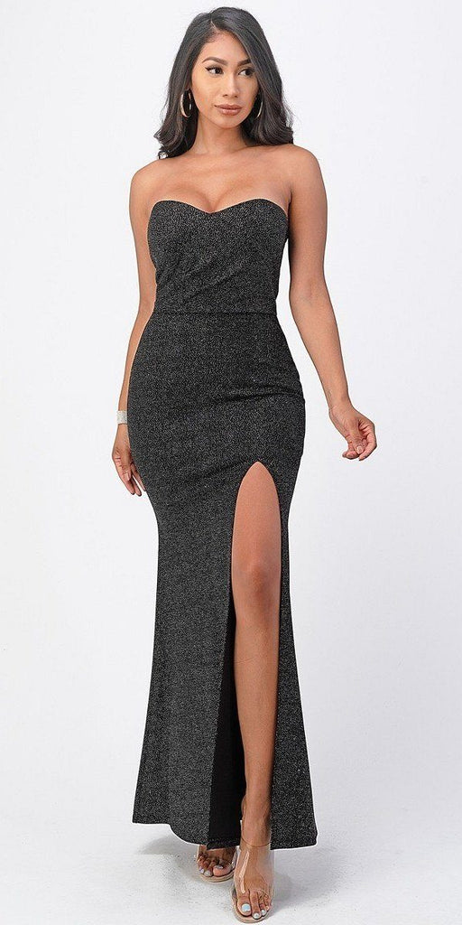 La Scala 25928 Long Fitted Sheath Black Party Dress Strapless With Slit