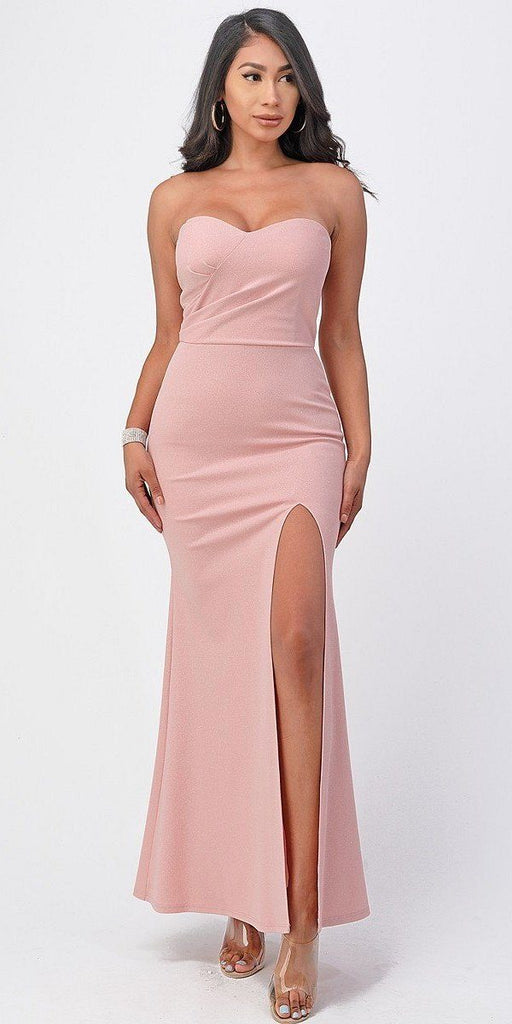 La Scala 25928 Long Fitted Sheath Blush Party Dress Strapless With Slit