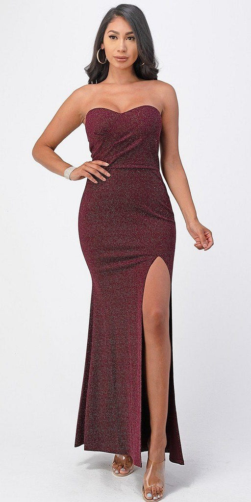 La Scala 25928 Long Fitted Sheath Burgundy Party Dress Strapless With Slit