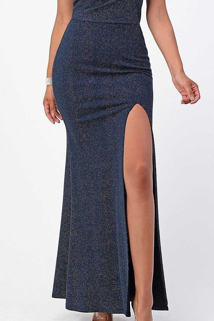 La Scala 25928 Long Fitted Sheath Navy Blue Party Dress Strapless With Slit