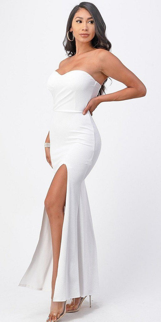 La Scala 25928 Long Fitted Sheath White Party Dress Strapless With Slit