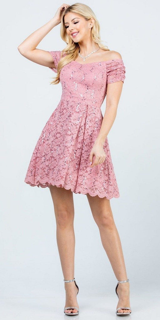 La Scala 25942 Short Lace Blush Skater Dress Short Sleeve Off The Shoulder