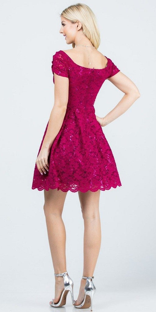 La Scala 25942 Short Lace Fuchsia Skater Dress Short Sleeve Off The Shoulder