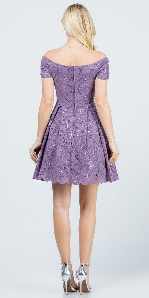 La Scala 25942 Short Lace Lavender Skater Dress Short Sleeve Off The Shoulder