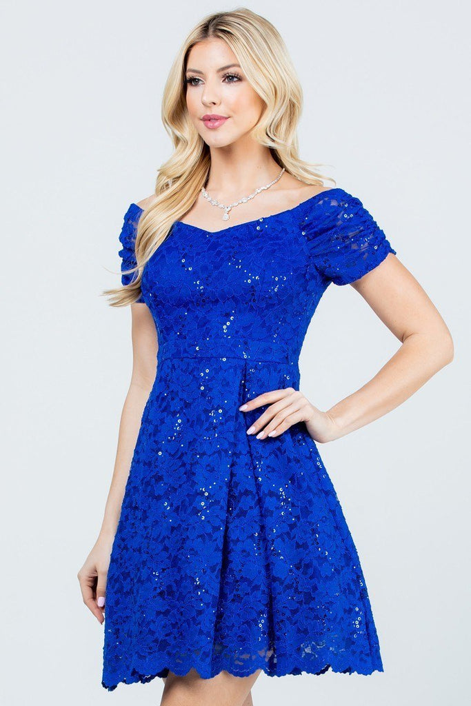 La Scala 25942 Short Lace Royal Blue Skater Dress Short Sleeve Off The Shoulder