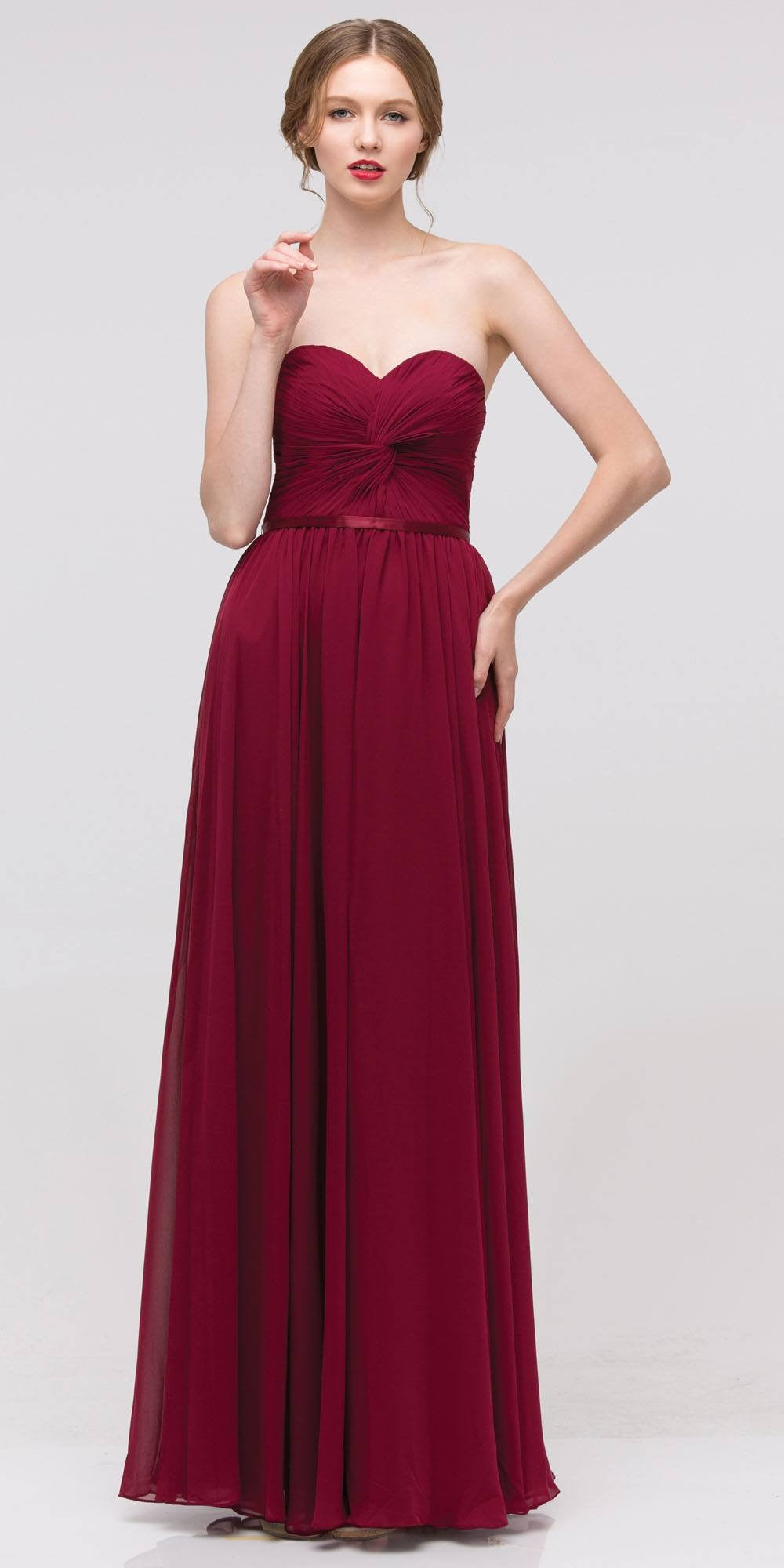 Sweetheart Neck Ruched Bodice Long A Line Burgundy Gown