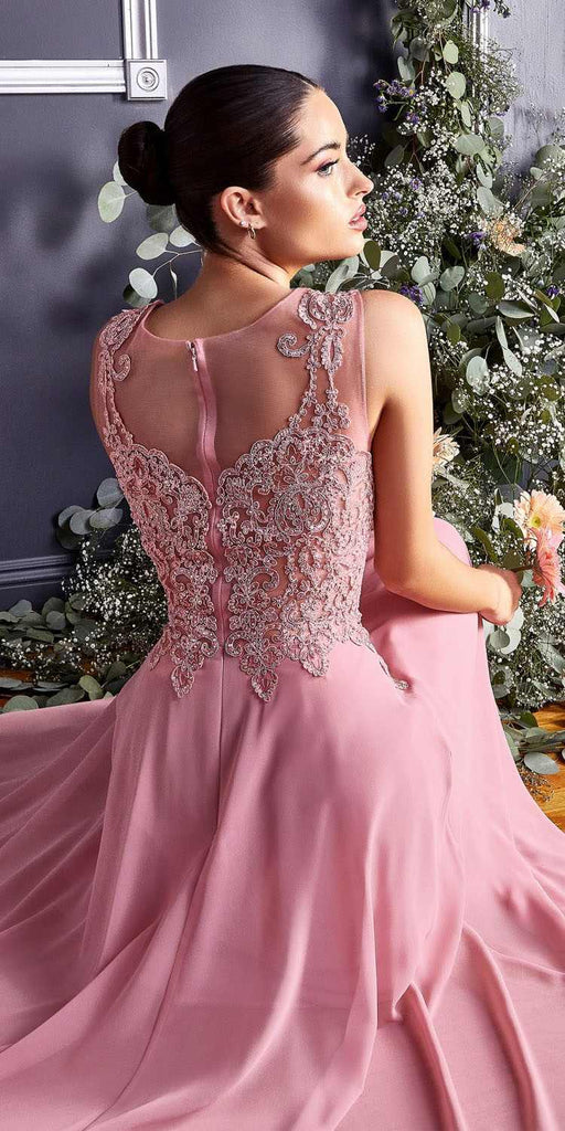 Cinderella Divine 2635 - Jewel Embellished Sheer Back Chiffon Prom Dress Dusty Rose