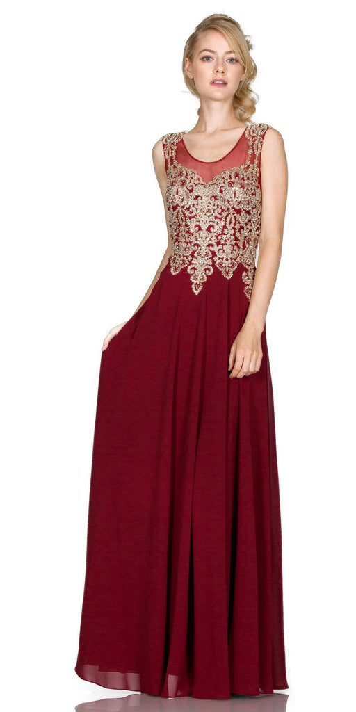 Cinderella Divine 2635 - Jewel Embellished Sheer Back Chiffon Prom Dress Burgundy/Gold