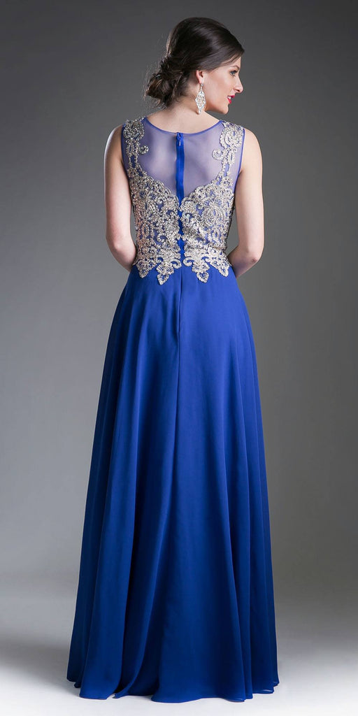 Cinderella Divine 2635 - Jewel Embellished Sheer Back Chiffon Prom Dress Royal Blue