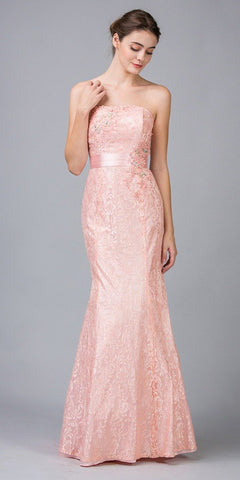 Eureka Fashion 2705 A Line Strapless Natural Waist Long Dusty Pink Formal Gown