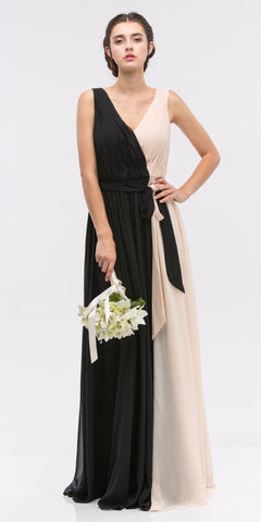 Black/Taupe V-Neck Ruched Bodice A-Line Formal Dress Long