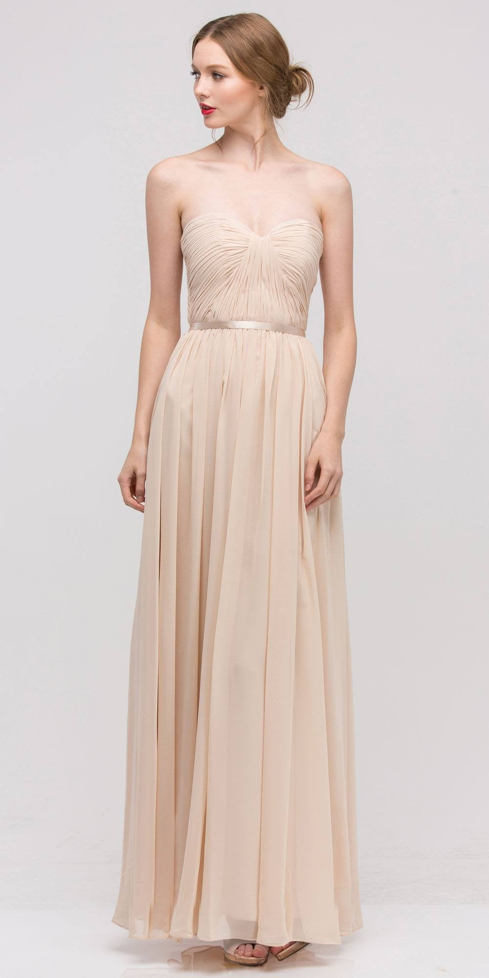 Belted Waist Ruched Long A Line Champagne Formal Dress