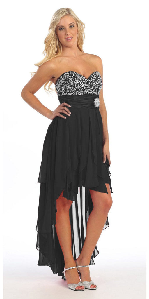 High Low Homecoming Black Dress Beads Sequins Asymmetrical Skirt