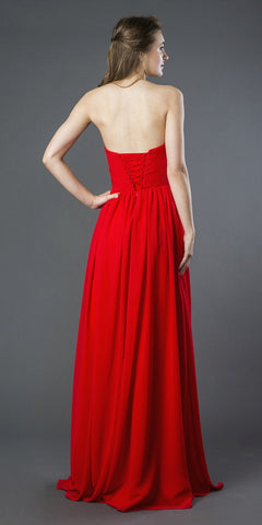 Red A-Line Long Formal Dress Embellished Bodice