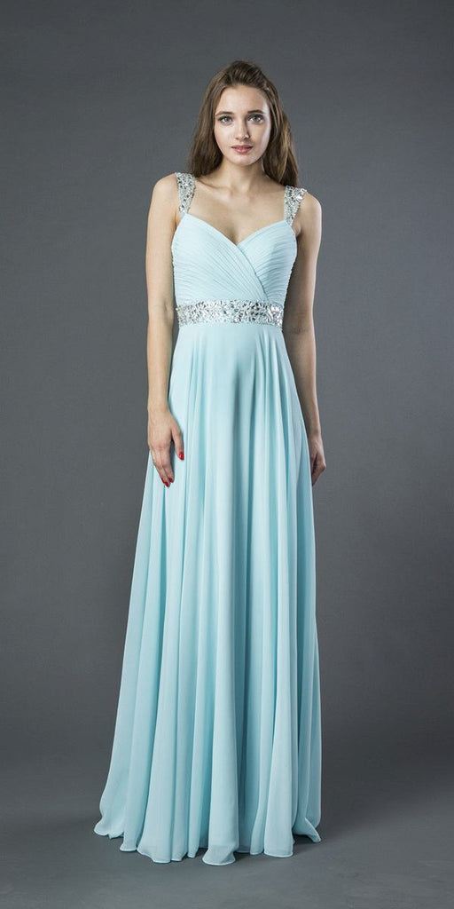 Embellished Long A-line Formal Dress Aqua