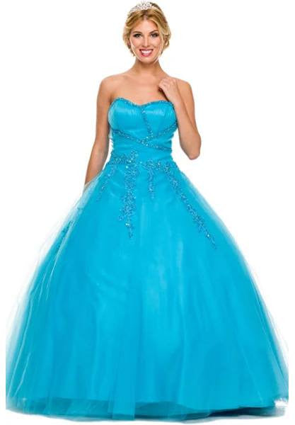 Poofy Turquoise Quinceanera Tulle Dress A Line Strapless Beading