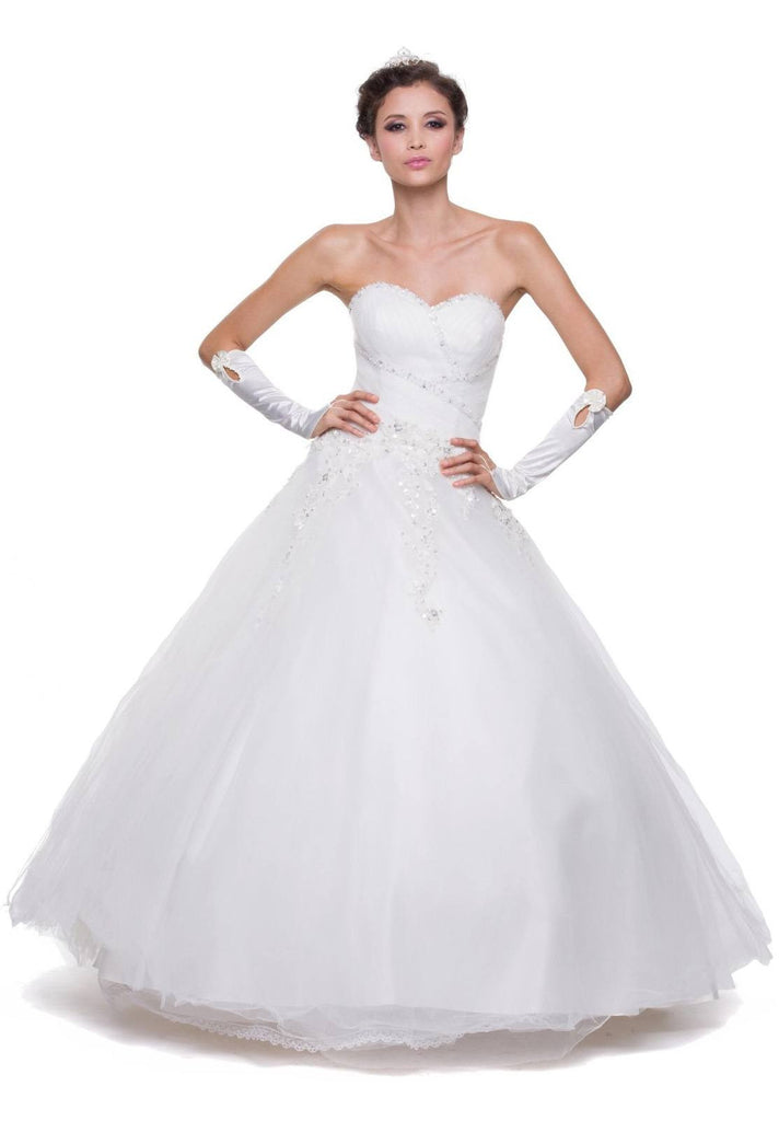 Poofy White Quinceanera Tulle Dress A Line Strapless Beading