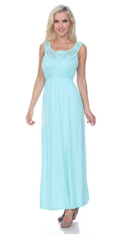 Katherine Maxi Dress Mint Lace Neckline Wide Straps Empire